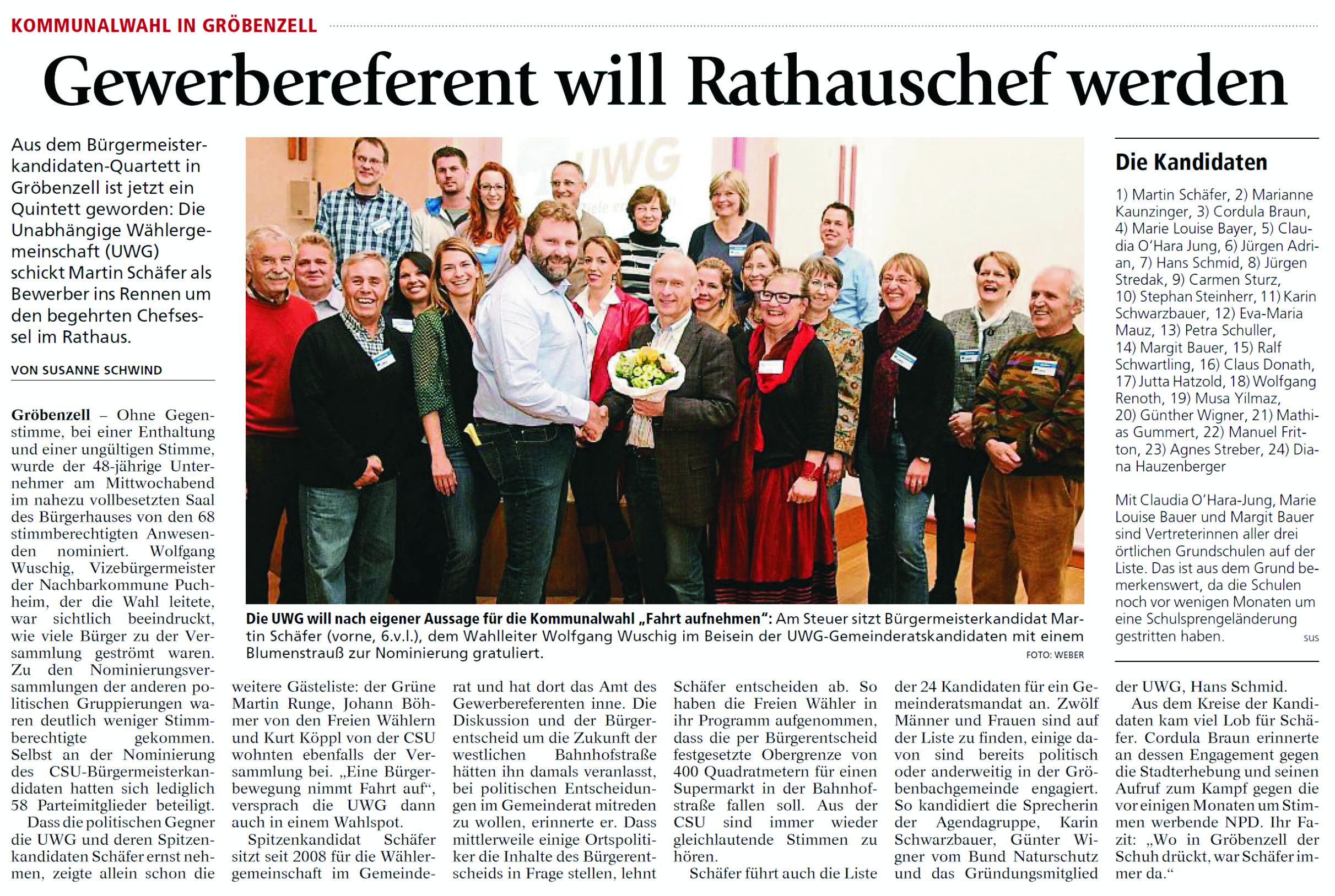 Gewerbereferent will Rathauschef werden