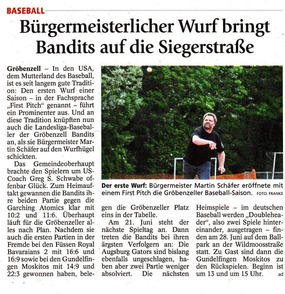 Bürgermeisterlicher Wurf bringt Bandits auf die Siegerstraße